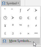 Professional Symbols Word