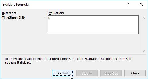 Evaluating Formulas in Excel - Restart