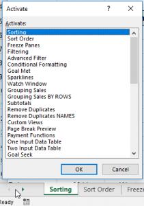 Finding worksheets in Excel - worksheet list