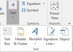 Embedding Documents in Excel - Text group