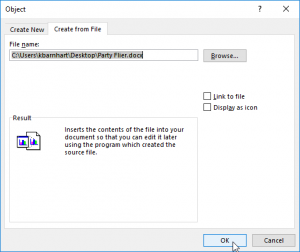 Embedding Documents in Excel - Dialog box